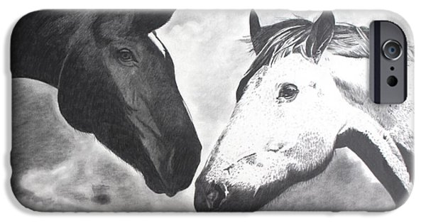 The Horse iPhone Cases - Meeting for the first time iPhone Case by Randy Mitchell