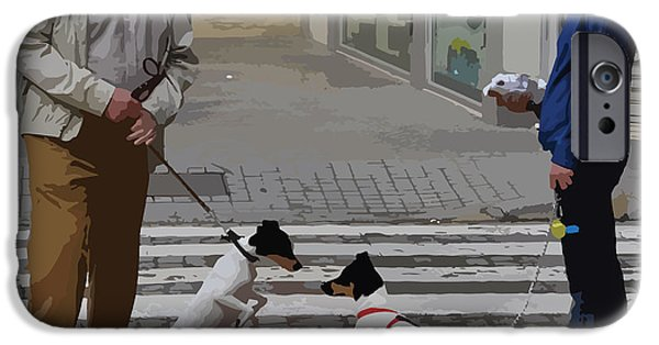 Terrier Digital iPhone Cases - Meeting for the First Time - Seville iPhone Case by Mary Machare