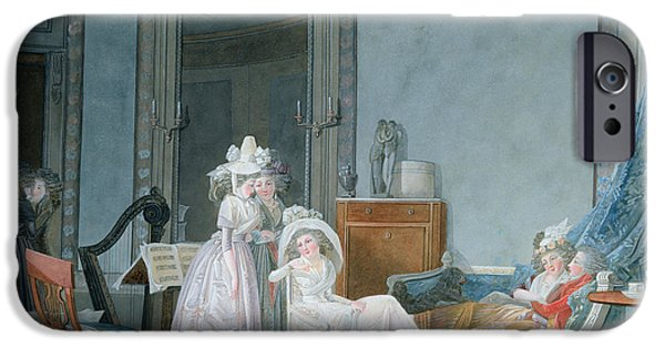 Lumiere iPhone Cases - Meeting In A Salon, 1790 Gouache On Paper iPhone Case by Jean Baptiste Mallet