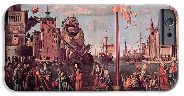 Betrothed iPhone Cases - Meeting of the Betrothed Couple and the Departure of the   Pilgrims iPhone Case by Vittore Carpaccio