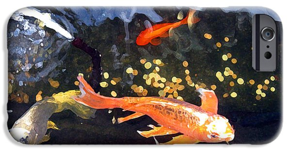 Goldfish Mixed Media iPhone Cases - Meetings on the Riverbank iPhone Case by Patricia Januszkiewicz