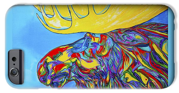 Vivid Colour Paintings iPhone Cases - Mega Moose iPhone Case by Derrick Higgins