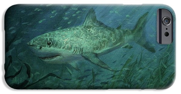 Sharks Paintings iPhone Cases - Megadolon Shark iPhone Case by Tom Shropshire