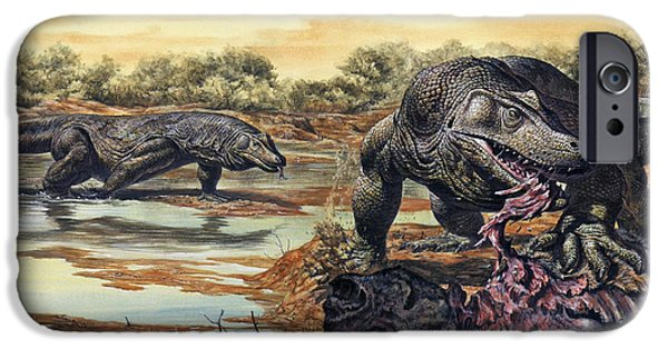 Food Paining iPhone Cases - Megalania Giant Monitor Lizard Eating iPhone Case by Mark Hallett
