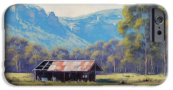 Shed Paintings iPhone Cases - Megalong Valley Shed iPhone Case by Graham Gercken