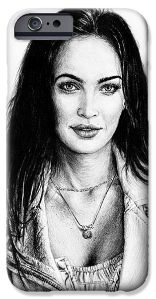 Fame Drawings iPhone Cases - Megan Fox iPhone Case by Andrew Read