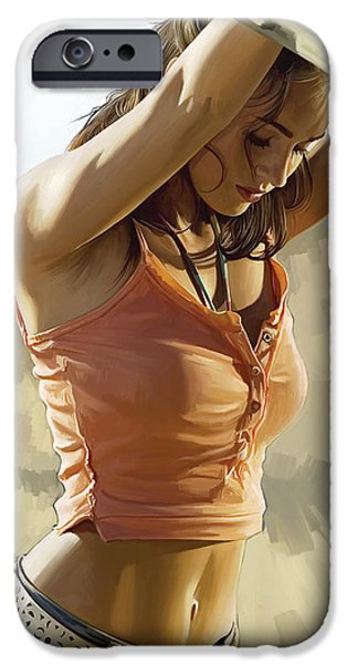 Celebrities Art iPhone Cases - Megan Fox Artwork iPhone Case by Sheraz A