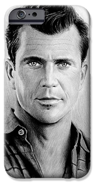 Weapon Drawings iPhone Cases - Mel Gibson bw iPhone Case by Andrew Read