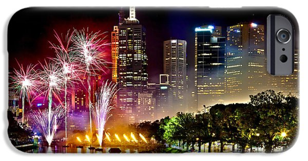 Fireworks Photographs iPhone Cases - Melbourne Fireworks Spectacular iPhone Case by Az Jackson