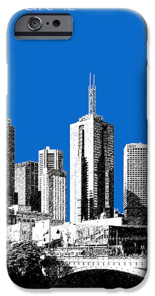 Pen And Ink iPhone Cases - Melbourne Skyline 1 - Blue iPhone Case by DB Artist