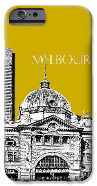 Pen And Ink iPhone Cases - Melbourne Skyline 2 Flinders Street Station - Gold iPhone Case by DB Artist