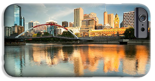 River View iPhone Cases - Melbourne skyline at sunrise iPhone Case by Matteo Colombo
