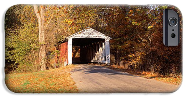 Covered Bridge iPhone Cases - Melcher Covered Bridge Parke Co In Usa iPhone Case by Panoramic Images