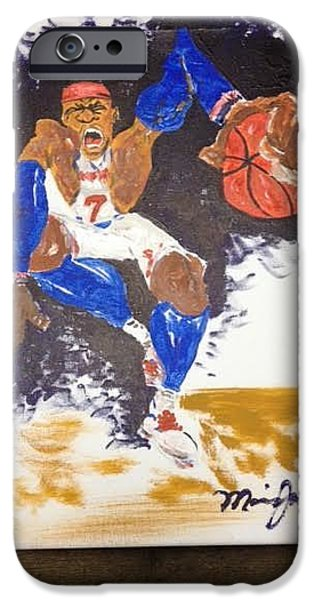 Knicks Paintings iPhone Cases - Melo iPhone Case by Maurice Jackson