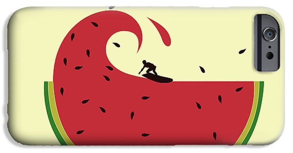 Surf Silhouette iPhone Cases - Melon splash iPhone Case by Neelanjana  Bandyopadhyay