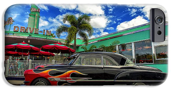 Park Scene Digital Art iPhone Cases - Mels Drive In iPhone Case by Bill Tiepelman