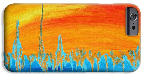 Merging Paintings iPhone Cases - Melting Horizons iPhone Case by Suhasini Kirloskar