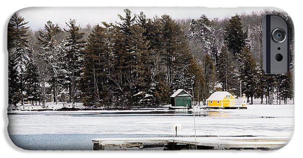 Snow Scene iPhone Cases - Melting Ice on Old Forge Pond iPhone Case by David Patterson