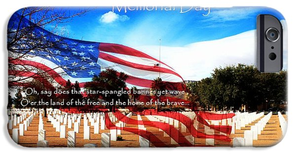 Headstones Digital Art iPhone Cases - Memorial Day iPhone Case by Barbara Chichester