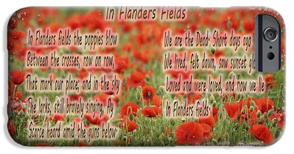 Memorial Day Digital Art iPhone Cases - Memorial Day In Flanders Fields Typography  iPhone Case by Georgeta Blanaru