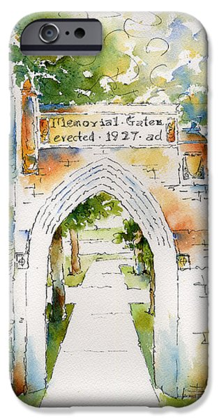 World War One Paintings iPhone Cases - Memorial Gates iPhone Case by Pat Katz