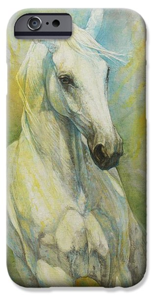 Horse Artist iPhone Cases - Memories of a grass leaf iPhone Case by Silvana Gabudean