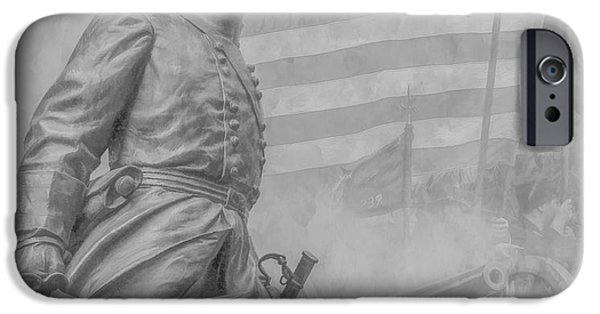 Statue Of Confederate Soldier iPhone Cases - Memories of the Gettysburg Battle iPhone Case by Randy Steele