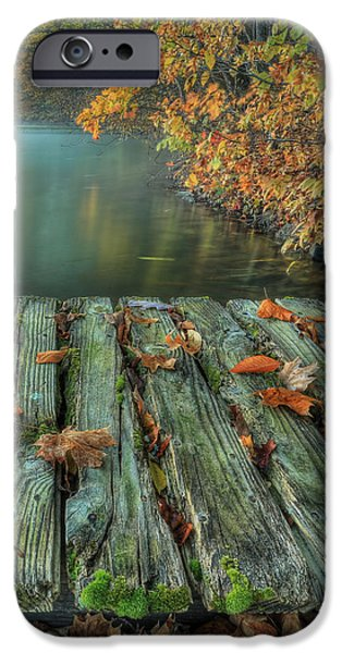 Autumn Leaf On Water iPhone Cases - Memories of the Lake iPhone Case by Jaki Miller