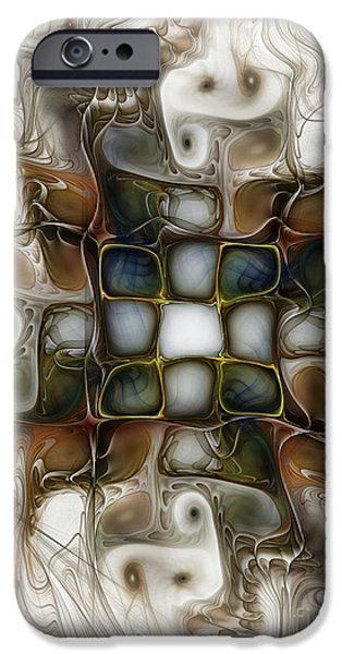 Fractals Fractal Digital Art iPhone Cases - Memory Boxes-Fractal Art iPhone Case by Karin Kuhlmann