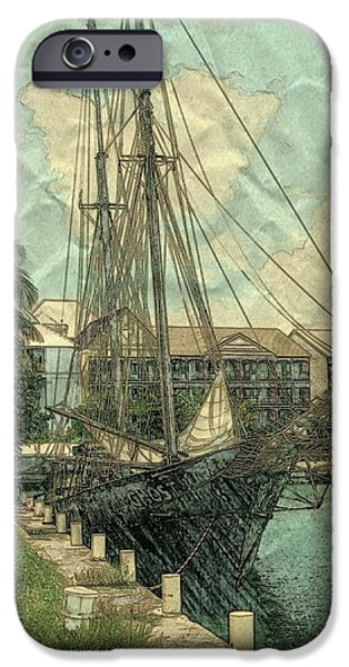 Tall Ship Mixed Media iPhone Cases - Memory of a Ship iPhone Case by Pamela Blayney