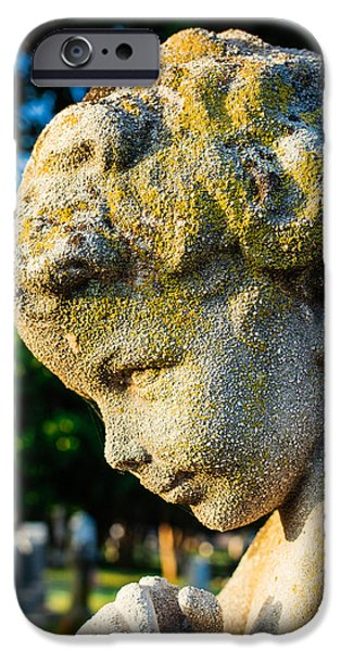 Cemetary iPhone Cases - Memphis Elmwood Cemetery - Boy Angel Vertical iPhone Case by Jon Woodhams