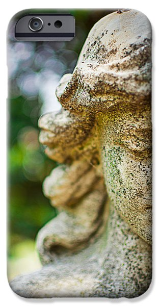 Cemetary iPhone Cases - Memphis Elmwood Cemetery - Girl with Cross Close-up iPhone Case by Jon Woodhams