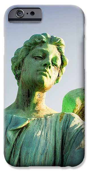 Cemetary iPhone Cases - Memphis Elmwood Cemetery - Patinated Angel iPhone Case by Jon Woodhams