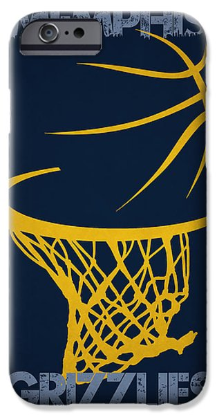 Grizzly iPhone Cases - Memphis Grizzlies Hoop iPhone Case by Joe Hamilton