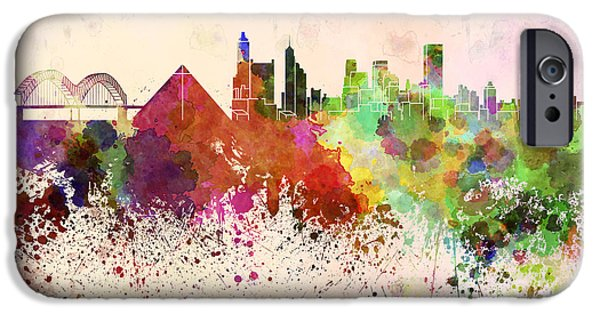 Tennessee Landmark iPhone Cases - Memphis skyline in watercolor background iPhone Case by Pablo Romero