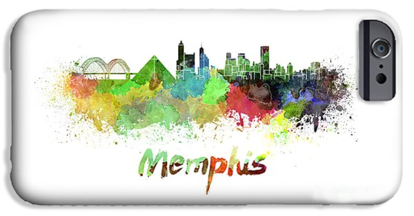 Tennessee Landmark iPhone Cases - Memphis skyline in watercolor iPhone Case by Pablo Romero