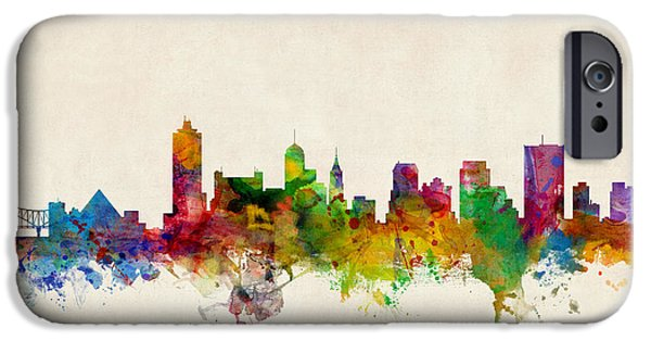 States iPhone Cases - Memphis Tennessee Skyline iPhone Case by Michael Tompsett