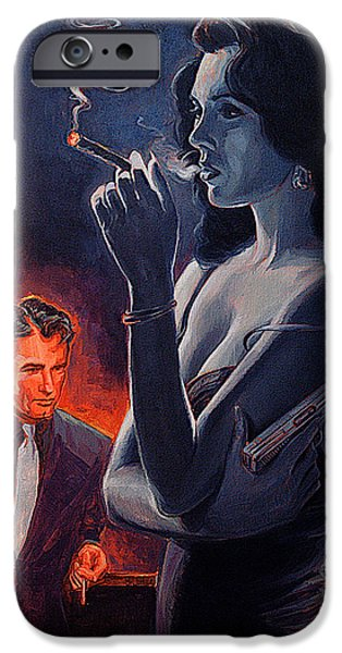 Woman With Black Hair iPhone Cases - Men and Cigars Were the Same To Zelda If You Got Em Smke Em iPhone Case by Shawn Shea