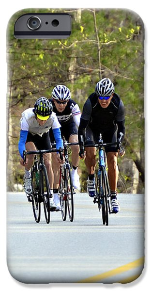 Men in a Bike Race iPhone Case by Susan Leggett