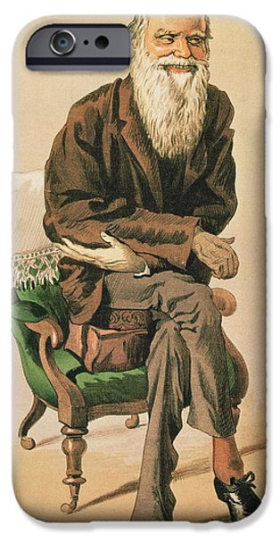 Old Man iPhone Cases - Men Of The Day, No. 33, Charles Darwin, Cartoon From Vanity Fair iPhone Case by .