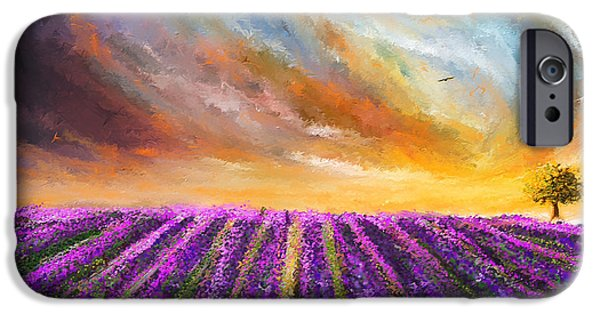 Purple And Green iPhone Cases - Menacing Beauty - Lavender Fields Paintings iPhone Case by Lourry Legarde