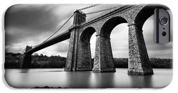 Old North Bridge iPhone Cases - Menai Suspension Bridge iPhone Case by Dave Bowman
