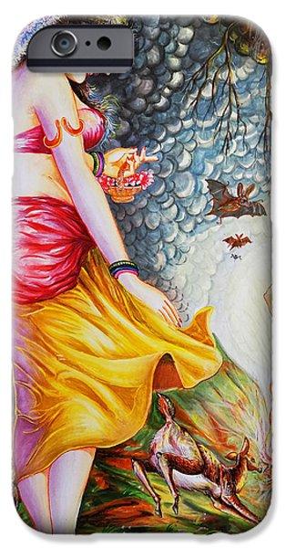 Hindu Goddess iPhone Cases - Menaka On Verge Of Breaking Vishwamitra Meditation iPhone Case by Arun Sivaprasad