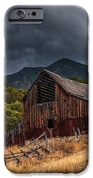 Mendon Utah Barn in Storm iPhone Case by Gary Whitton