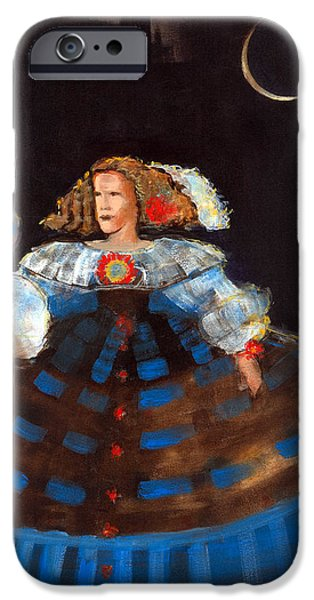 Ball Gown iPhone Cases - Menina And Eclipse Oil & Acrylic On Canvas iPhone Case by Marisa Leon