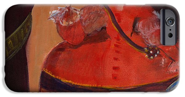 Ball Gown iPhone Cases - Menina In Red With Small Cockerel Oil & Acrylic On Canvas iPhone Case by Marisa Leon