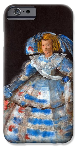 Ball Gown iPhone Cases - Menina With Blue Moon Oil & Acrylic On Canvas iPhone Case by Marisa Leon
