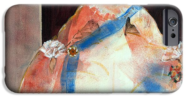 Ball Gown iPhone Cases - Menina With Sash And Flower Oil & Acrylic On Canvas iPhone Case by Marisa Leon