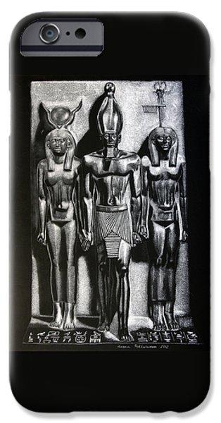 Hathor iPhone Cases - Menkaure Triad iPhone Case by Leena Pekkalainen