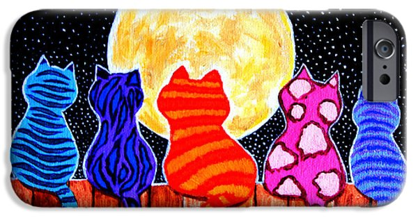 Whimsical. Paintings iPhone Cases - Meowing at Midnight iPhone Case by Nick Gustafson